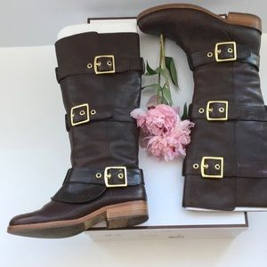 Coach Boots with buckle detail in Chestnut